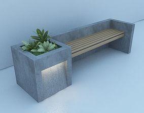 3D model Modern Bench Street and Garden