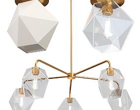 3D West Elm Sculptural Glass Faceted 5 Light Chandelier
