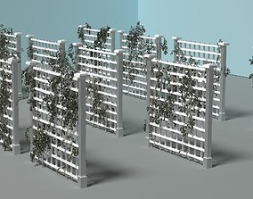 Set of 12 fences with ivy 3D