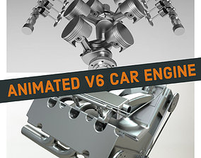 3D model V6 Car Engine - Fully Rigged and Animated