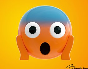 3D model Emoji Face Screaming in Fear