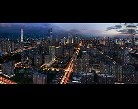 Nightscape of Guangzhou City in China 3D model animated