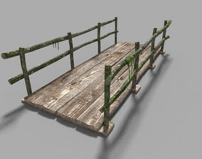 3D model low poly medieval wooden bridge