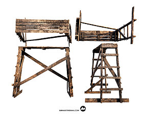 3D model Construction trestle made of wood