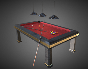 Luxury Pool Table 3D model realtime 3d