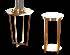 3D Brass end table and table lamp