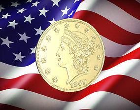 1849 Liberty Double Eagle US Coin 1849 3D print model