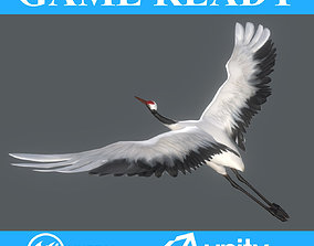 3D asset Low poly Crane Bird Animated - Game Ready