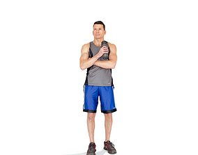 3D Sporty Man with Blue Shorts SMan0315-HD2-O01P01-S