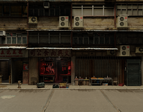 Atmospheric Detailed retro hong kong building 3D asset