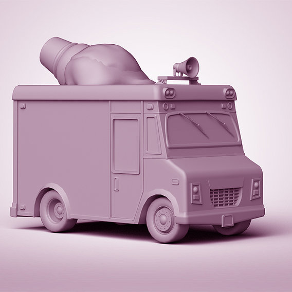 Ice-Cream Truck || Low-poly Game Ready Model