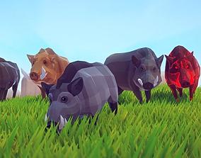 Poly Art Boars 3D asset