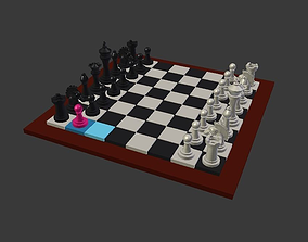 Chess Board with Pieces 3D