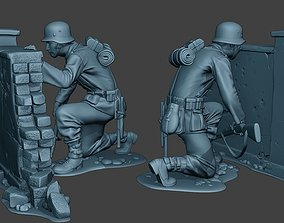 3D print model German soldier ww2 cover down G5