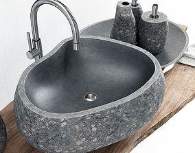 3D Stone washbasin wood slabe