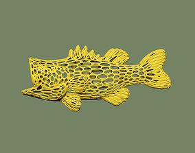 3D print model Bass fish voronoi wireframe