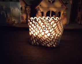 3D printable model Tealight holder Crumpled hexagon 1