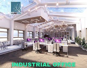 3D model Industrial Office on Attic with Skylights 2