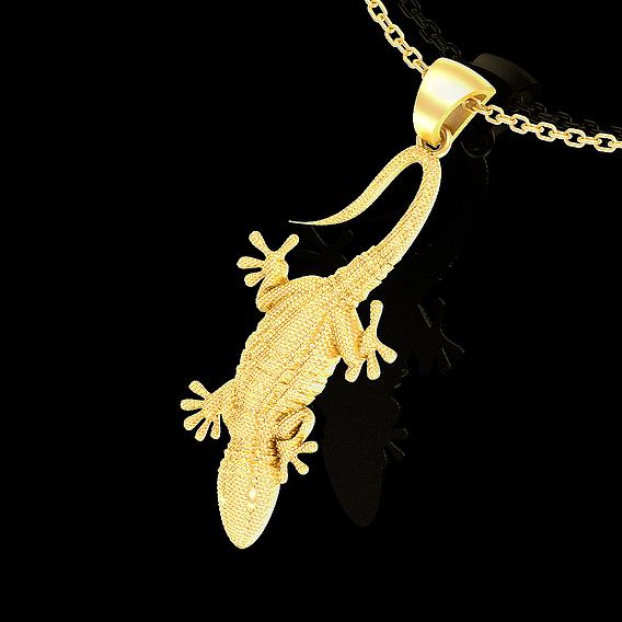Lizard Pendant jewelry Gold 3D print model