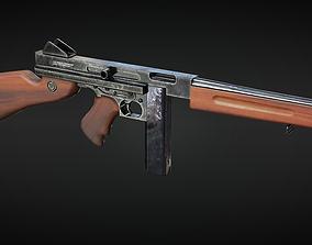 M1A1 Thompson submachine gun - 4 different 3D model 3