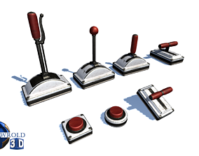 Toggle Switch Button Handle Pack Lowpoly 3d game-ready