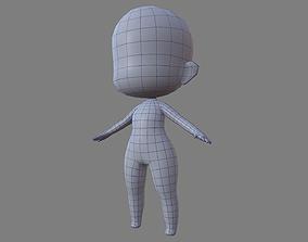 3D asset Female Chibi Lowpoly Character Base