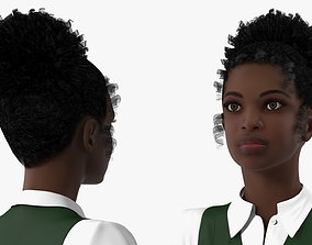 Black Teenage Schoolgirl T Pose 3D
