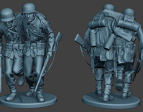 German soldier ww2 help wounded G5 3D print model