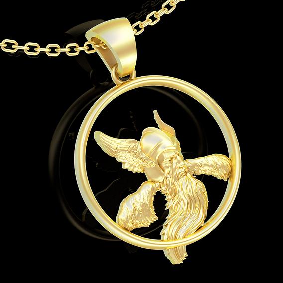 Odin i Vorony pendant jewelry gold necklace medallion 3d print model