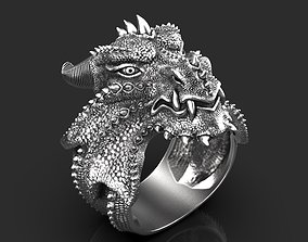 3D printable model sterling ring dragon