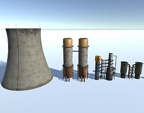 Factory Chimney Set 3D asset
