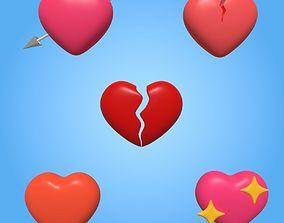 3D asset Heart Icons
