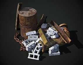 Rusty Debris Pile environment prop PBR 3D model