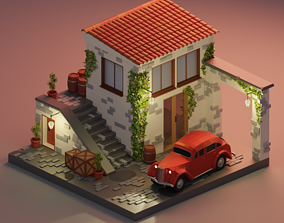 3D model Low-poly italy installation