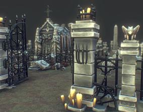 3D asset Low Poly Cemetery Starter Set