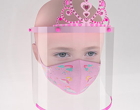 3D model Medical face shield with crown and mask for kids