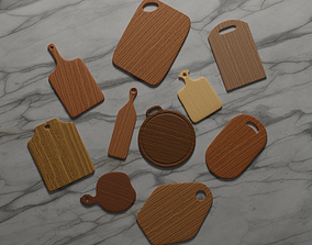 Ten Different Wooden Cutting Boards 3D model