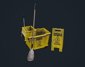 3D asset Mop Bucket Game Ready 01