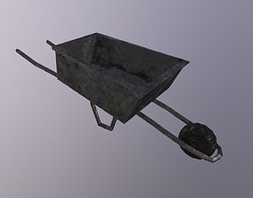 Old Wheelbarrow Game Ready Low Poly 3D Model game-ready