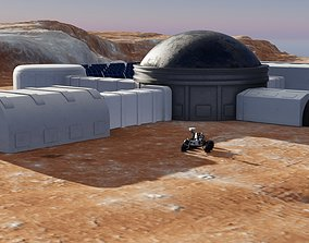 PBR Martian base and Mars Rover 3D models