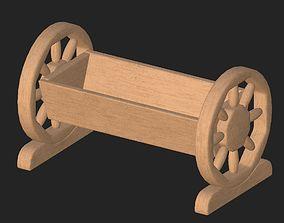 Cartoon wooden flowerpot 3D asset