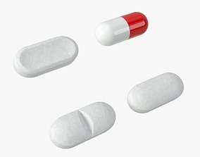 3D asset Set of long shaped pills with 4K PBR tex and 1