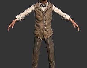 Male Character Suit Vintage 1920 3D model