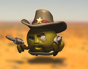 Western sheriff cartoon 3D