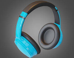 3D model Headphone Blue Lowpoly Pbr Subdivision Ready