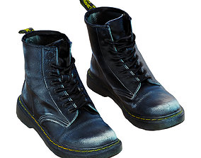 3D model Tall Frayed Black Boots