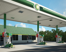 3D model BP gas station 001