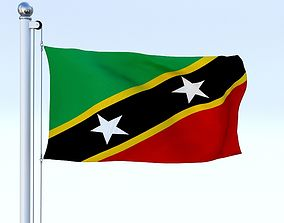 Animated Saint Kitts and Nevis Flag 3D model