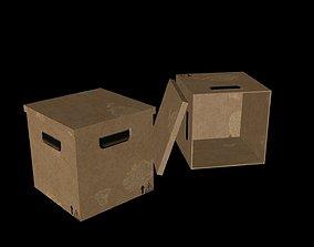 3D model Simple cardboard box with cap