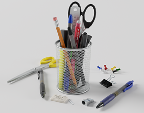 Stationery Collection 3D asset